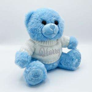 Blue teddy bear with sweater