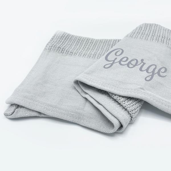 Baby Grey Heavy Knit Cellular Panel Blanket