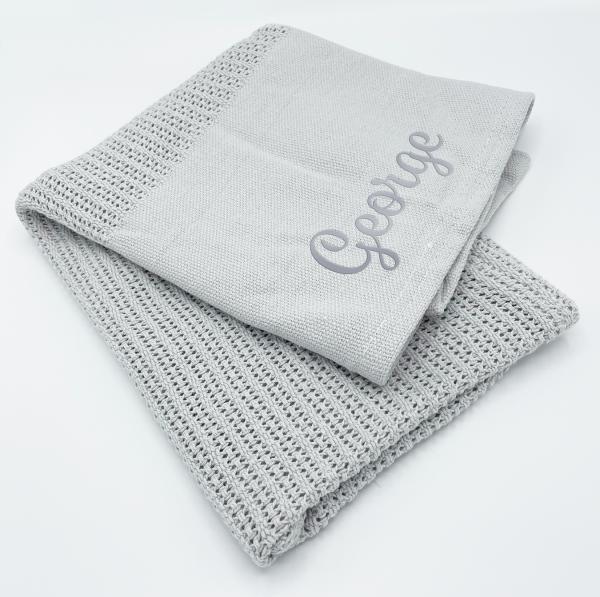 Baby Grey Heavy Knit Cellular Panel Blanket (70 x 110 CM)