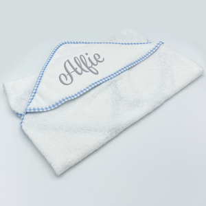 Personalised Baby White with Sky Gingham Trim Hooded Towel