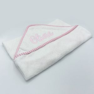 Baby White with Pnk Gingham Trim Hooded Towel