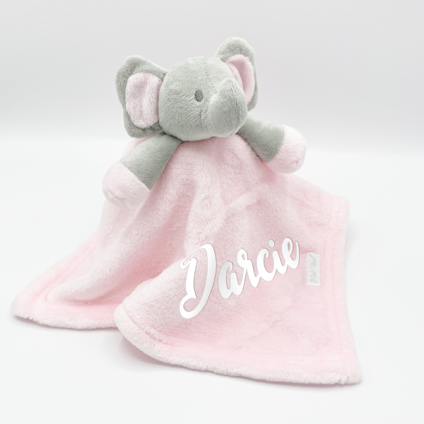 Baby Novelty Personalised Elephant Comforter- Pink