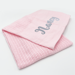 Baby Pink Heavy Knit Cellular Panel Blanket