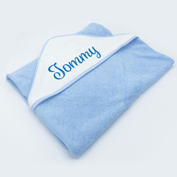 personalised Baby Plain Sky Hooded Towel Robe