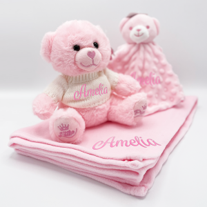 personalised bear gift set in pink