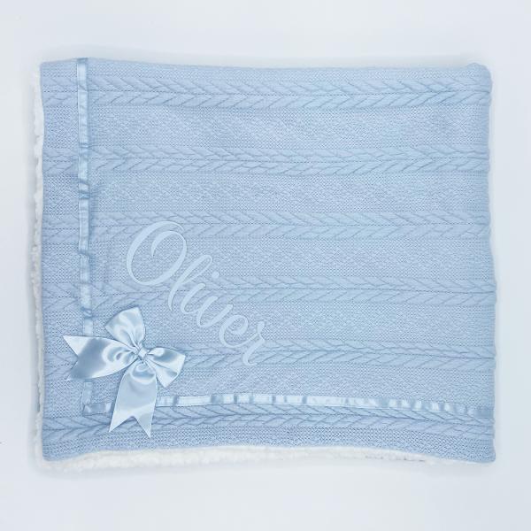 Blue Chevron Cable Knit Wrap w/Satin Trim & Bow