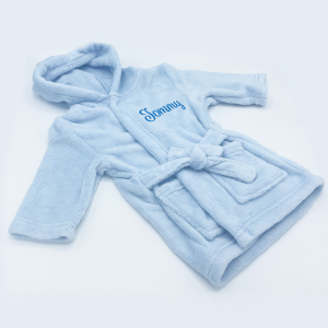 Soft Touch Blue Coral Fleece Hooded Dressing Gown