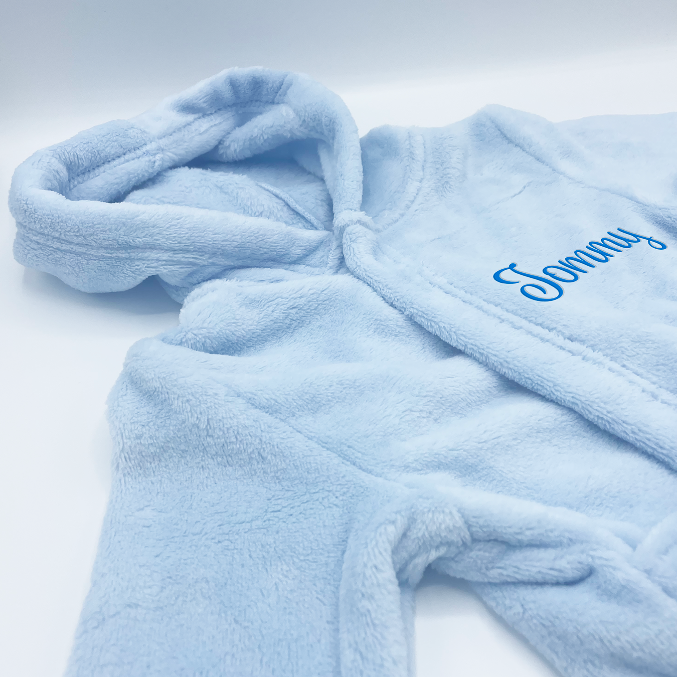 personalised Soft Touch Blue Coral Fleece Hooded Dressing Gown