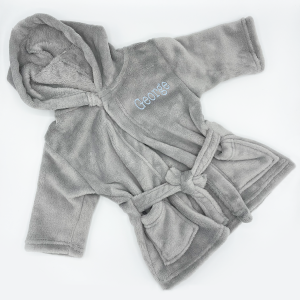soft touch grey coral fleece dressing gown