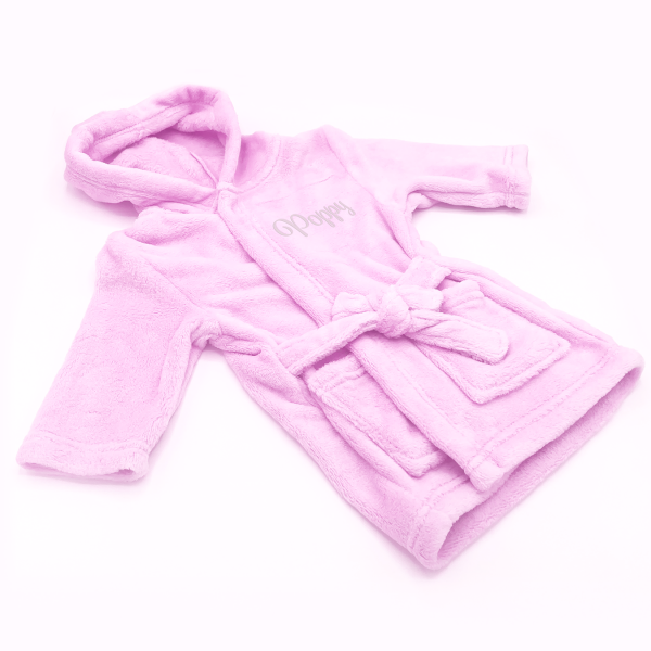 Soft touch pink fleece hooded dressing gown