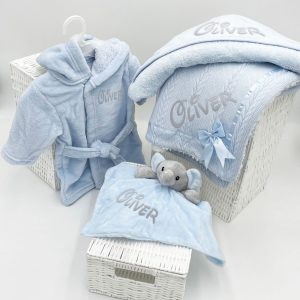 Personalised Baby Boy Bundle Gift Set - Blue