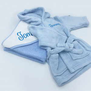 personalised baby bath time gift set in blue