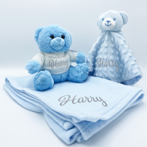personalised bear gift set including teddy bear, comforter and blanket