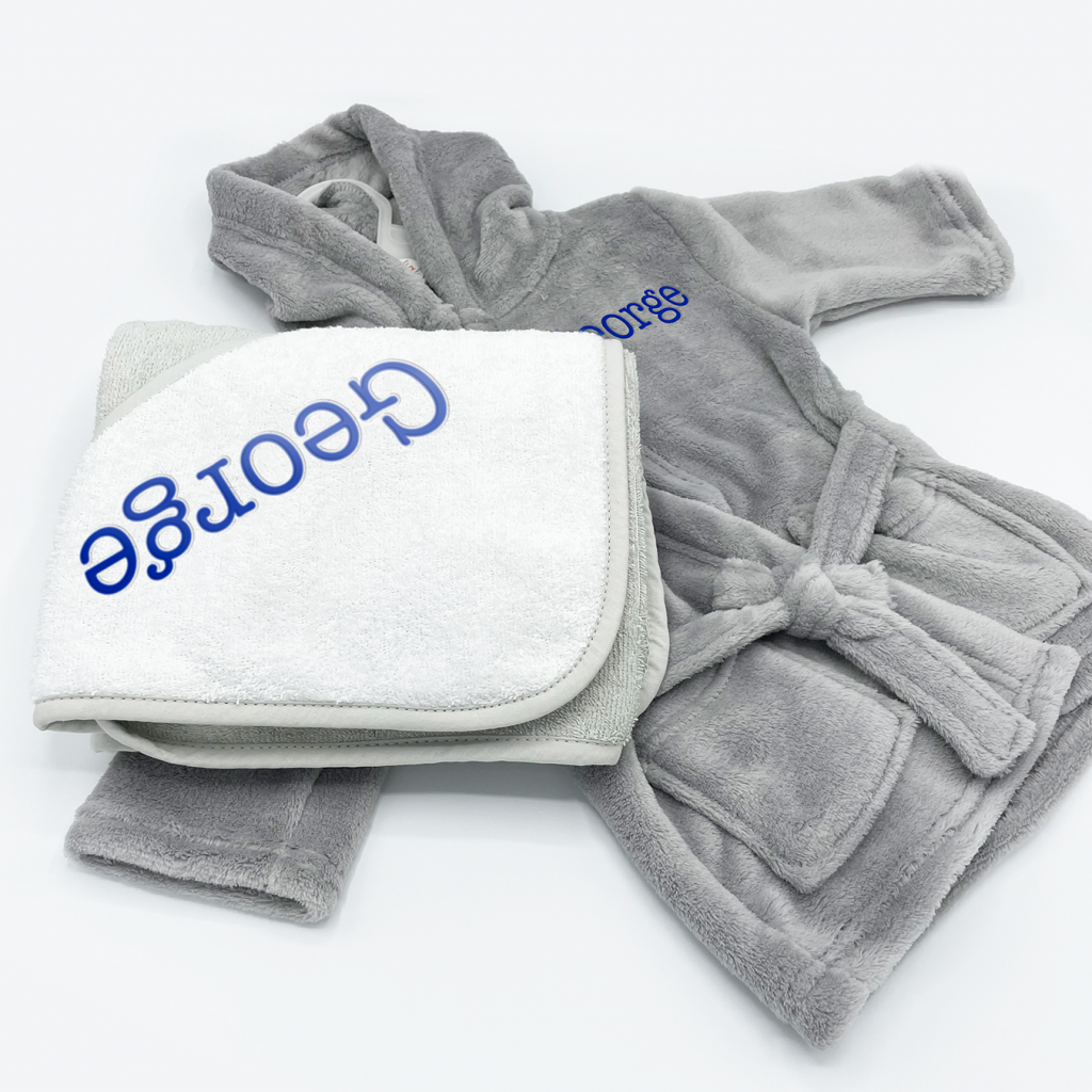 personalised bed time gift set in grey