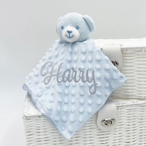 Personalised Bubble Blue Baby Bear Comforter