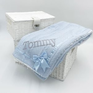 Personalised Blue Chevron Cable Knit Wrap with Satin Trim & Bow