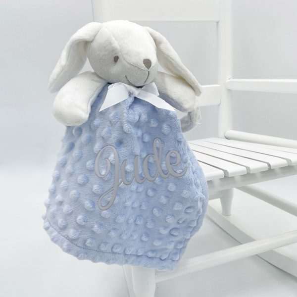 Personalised Baby Bubble Bunny Comforter Blue