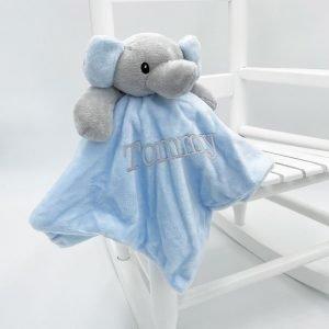 Personalised Baby Elephant Comforter - Plain Blue