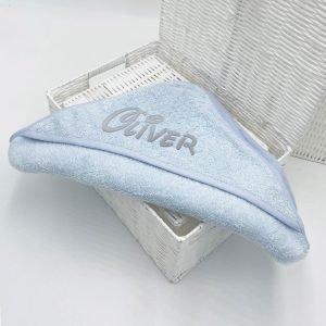 Personalised Baby Hooded Towel – Plain Blue