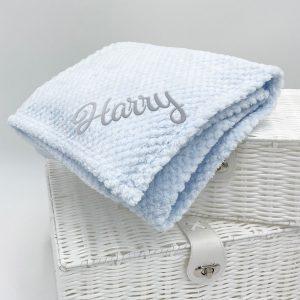 Personalised Baby Blue Waffle Blanket