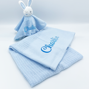 personalised baby bunny gift set in blue
