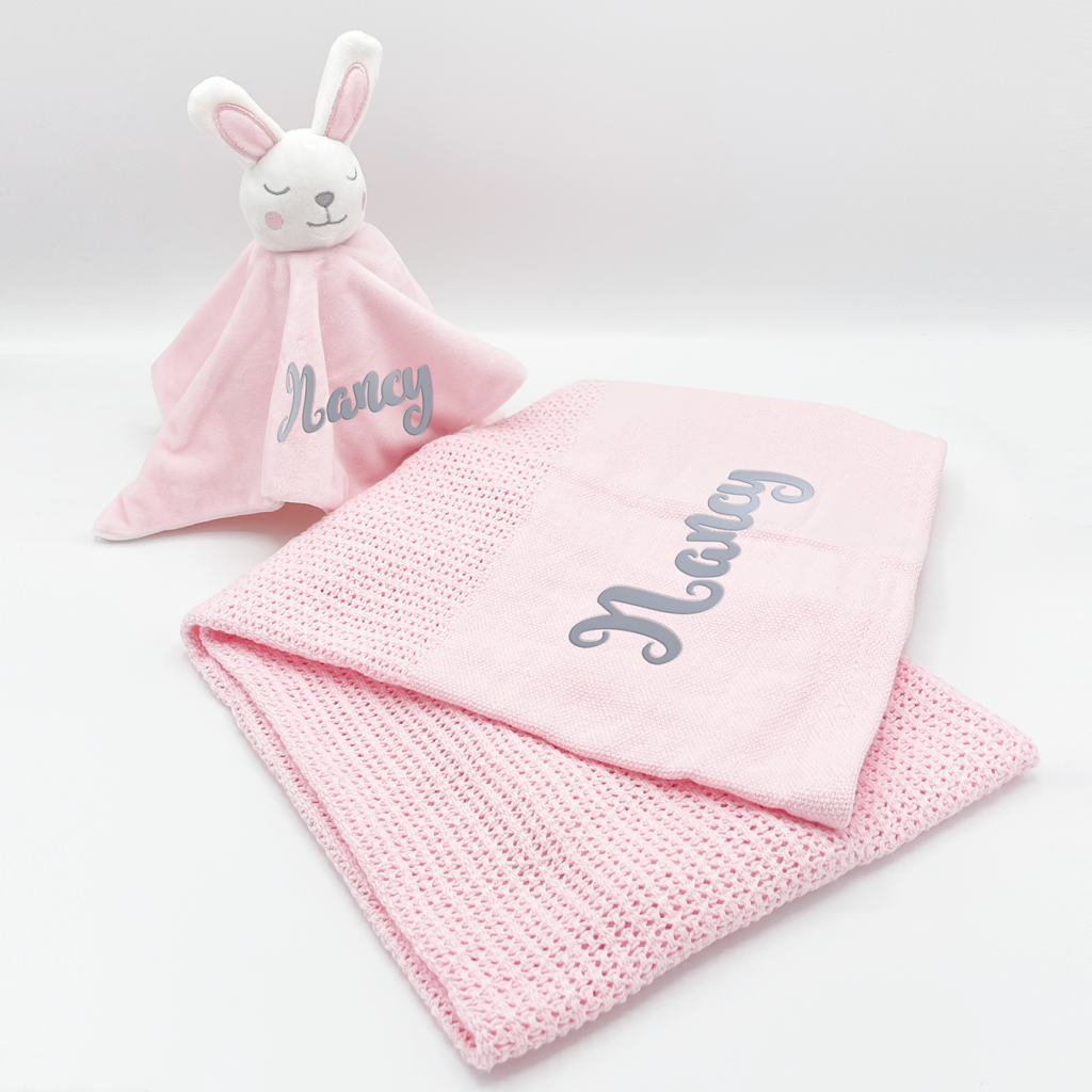 personalised baby bunny gift set in pink