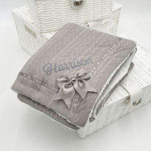 Personalised Grey Chevron Cable Knit Wrap With Satin Trim & Bow