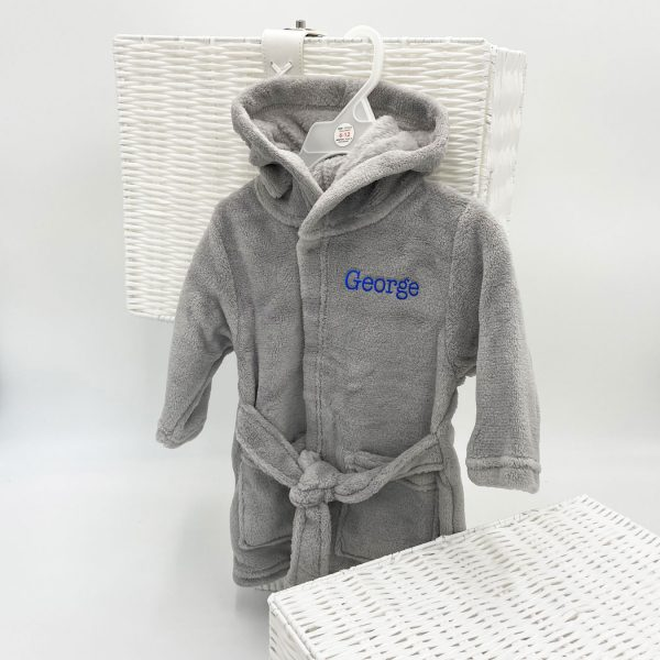 Personalised Grey Fleece Hooded Baby Dressing Gown