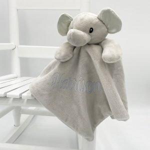 Personalised Baby Elephant Comforter - Plain Grey