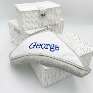 Personalised Baby Grey & White Hooded Towel