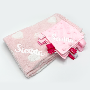 personalised heart gift set includingh baby blanket and comforter