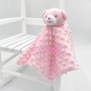 Personalised Bubble Pink Baby Bear Comforter