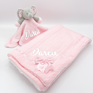 personalised baby pink elephant gift set