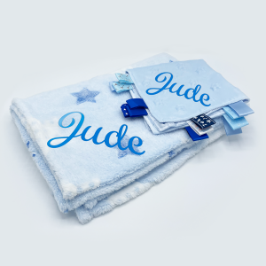 star gift set featuring personalised baby towel and comforter