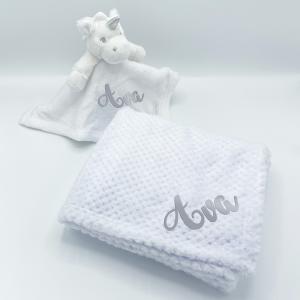 personalised baby unicorn gift set in white