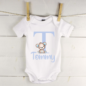 Personalised baby vest with blue bear and letter