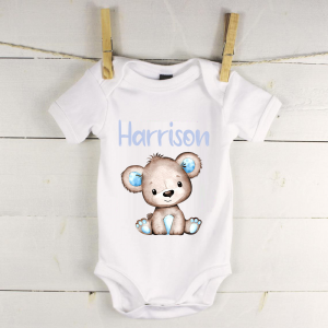 Personalised baby vest with blue bear