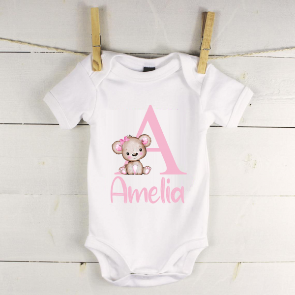 Personalised baby vest with bear name