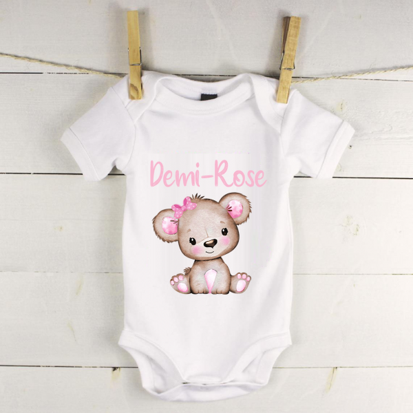 Personalised baby vest with pink bear