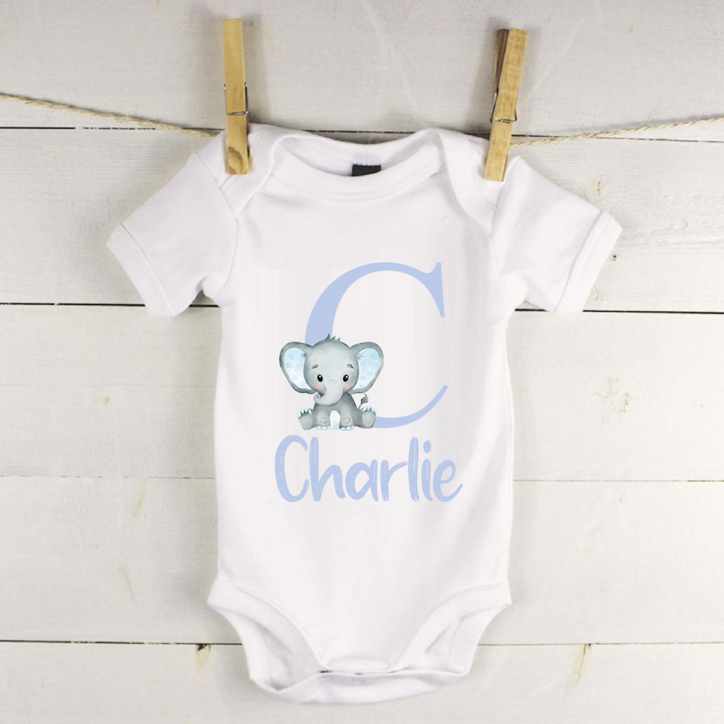 Personalised baby vest with elephant and letter
