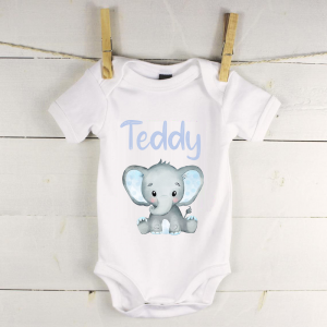 Personalised baby vest with blue elephant