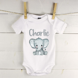 Personalised baby vest with grey elephant
