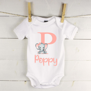 Personalised baby vest with pink elephant