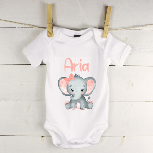 Personalised baby vest with elephant