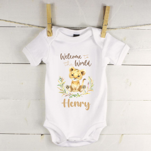 Personalised baby vest with lion boy