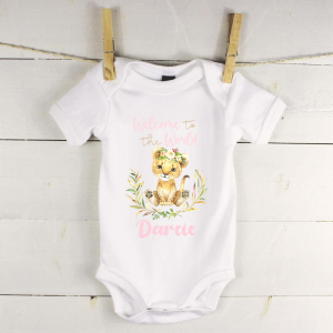 Personalised baby vest with lion