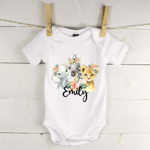 Personalised baby vest with safari animals