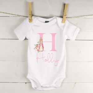 Personalised baby vest with flopsy rabbit