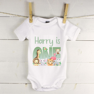 Personalised baby vest with jungle animals