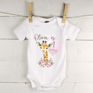 Personalised baby vest with giraffe